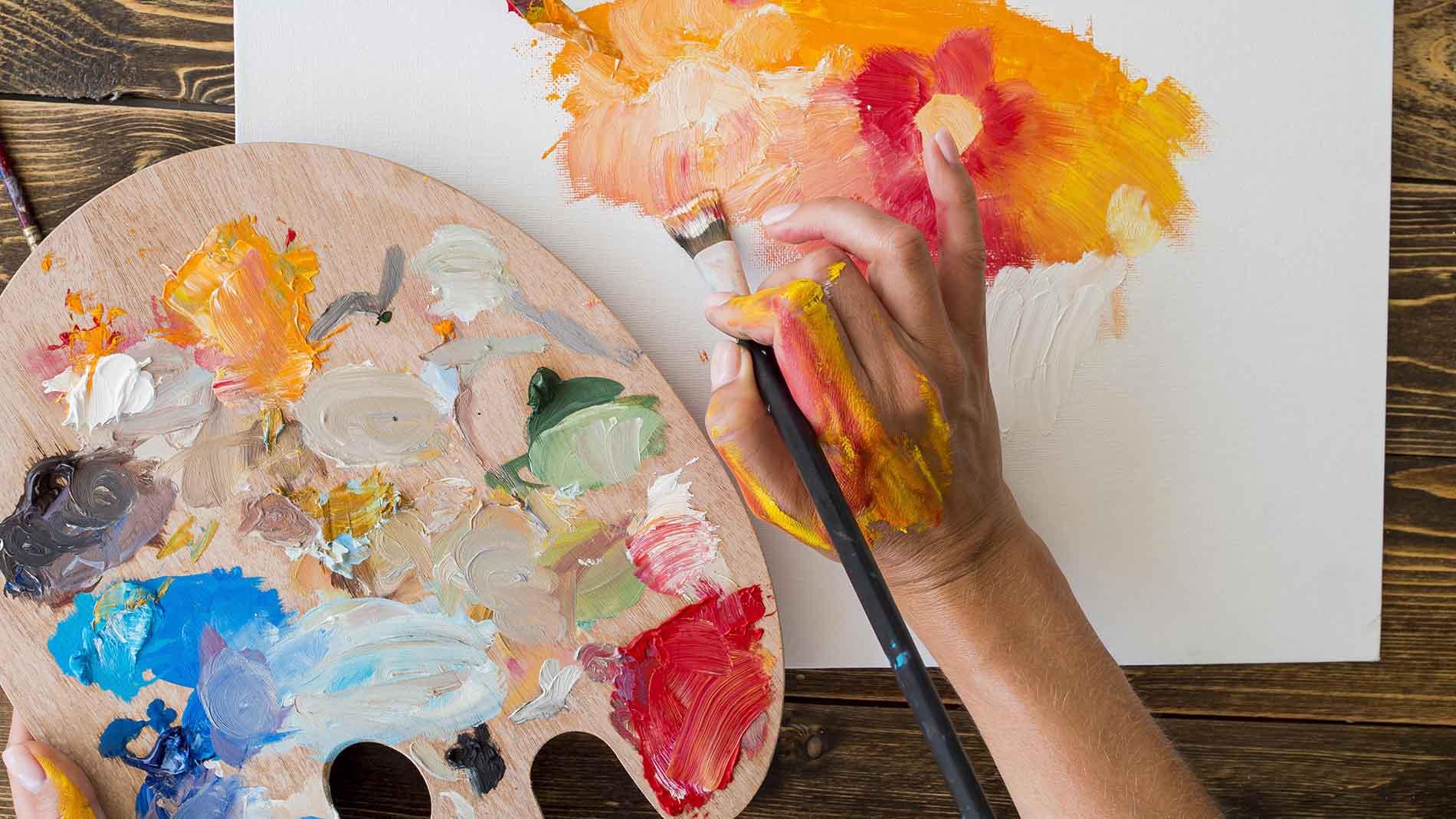malowanie obrazu , paleta malarska