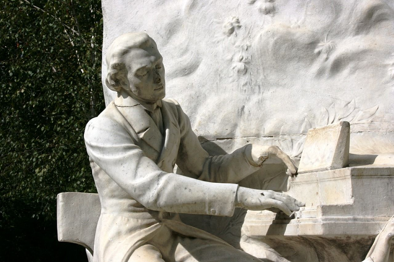 chopin, monument, piano
