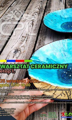 plakat informacyjny warsztaty ceramiczne sokole